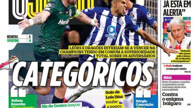 """Por cá: Noite """"demolidora"""" de Sporting e FC Porto na Champions"""