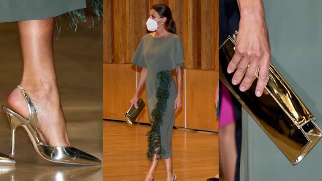 Rainha Letizia aposta em vestido verde com plumas para noite especial