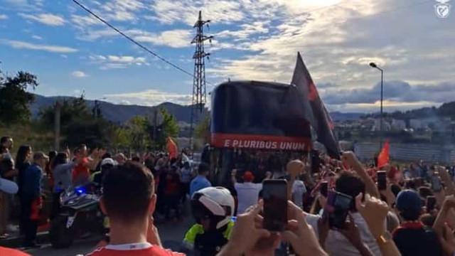 Benfica recebido em euforia antes do jogo com o Vizela