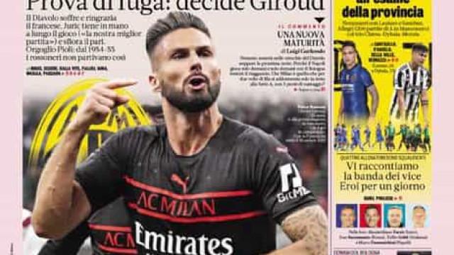 Lá fora: Giroud resgata 'velho' Milan, Solskjaer fica... para já.