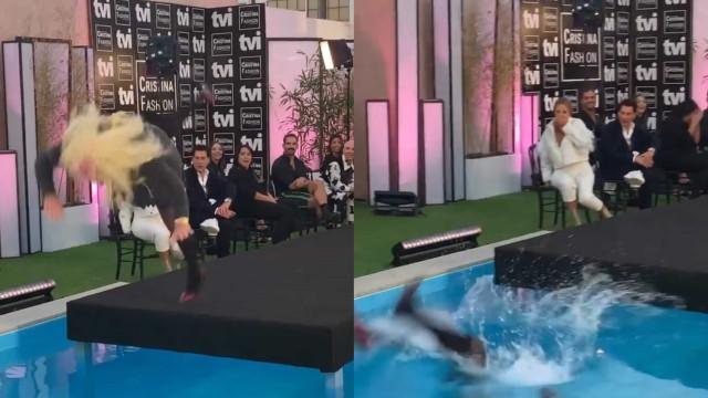 Vídeo. Eduardo Madeira cai na piscina durante emissão do Cristina ComVida