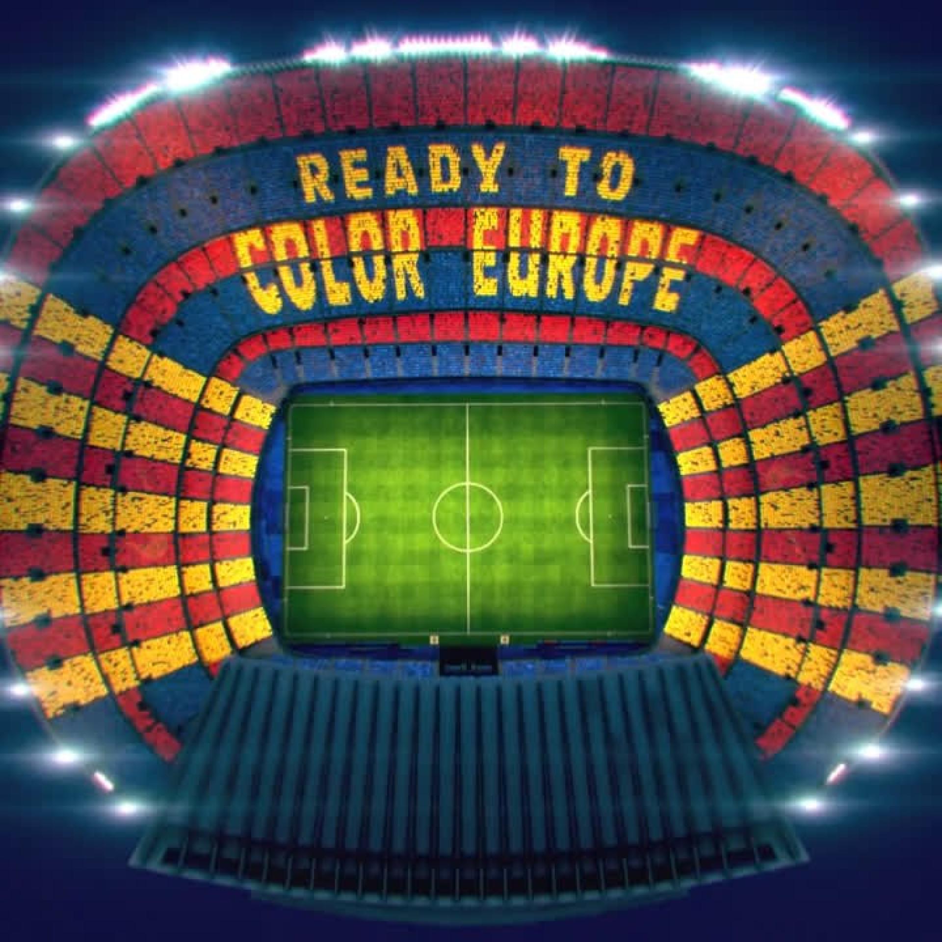 Barcelona mostra mosaico que irá apresentar na receção ao Liverpool