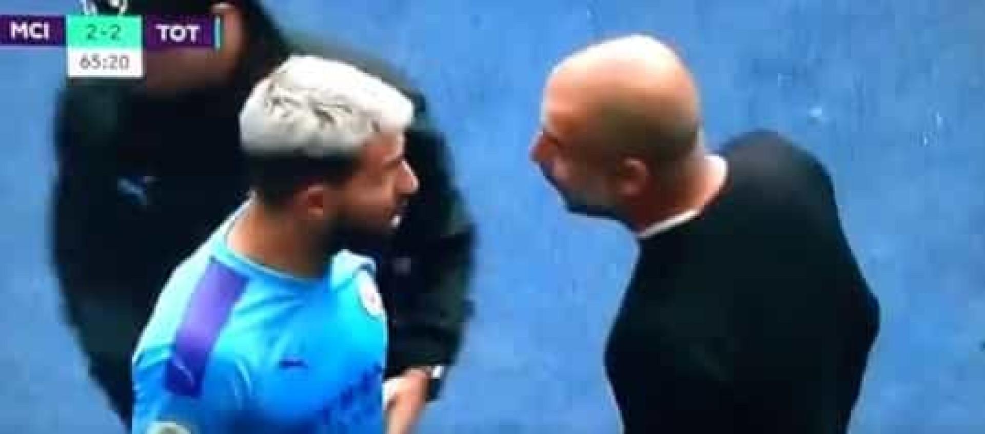 Aguero foi substituído e protagonizou acesa discussão com Guardiola
