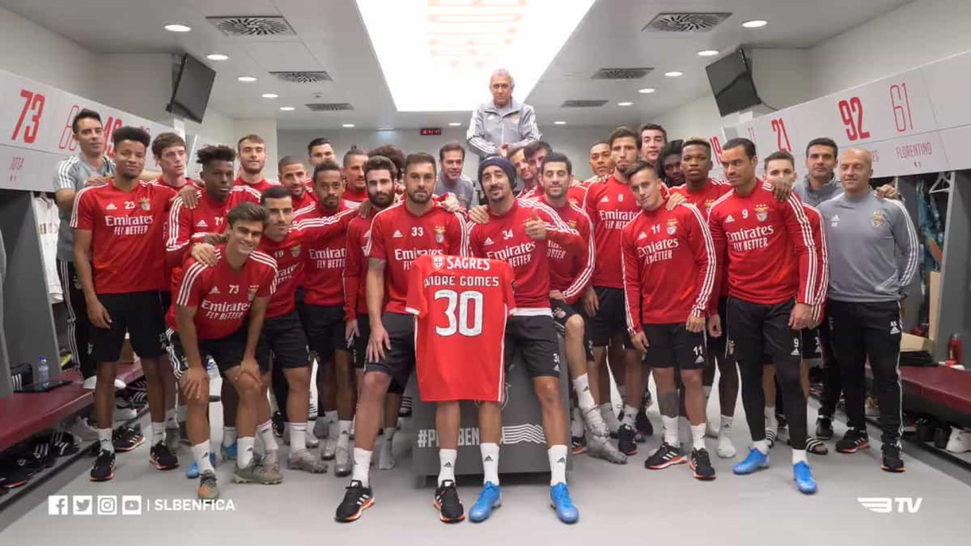 Plantel do Benfica gravou vídeo com mensagem especial para André Gomes