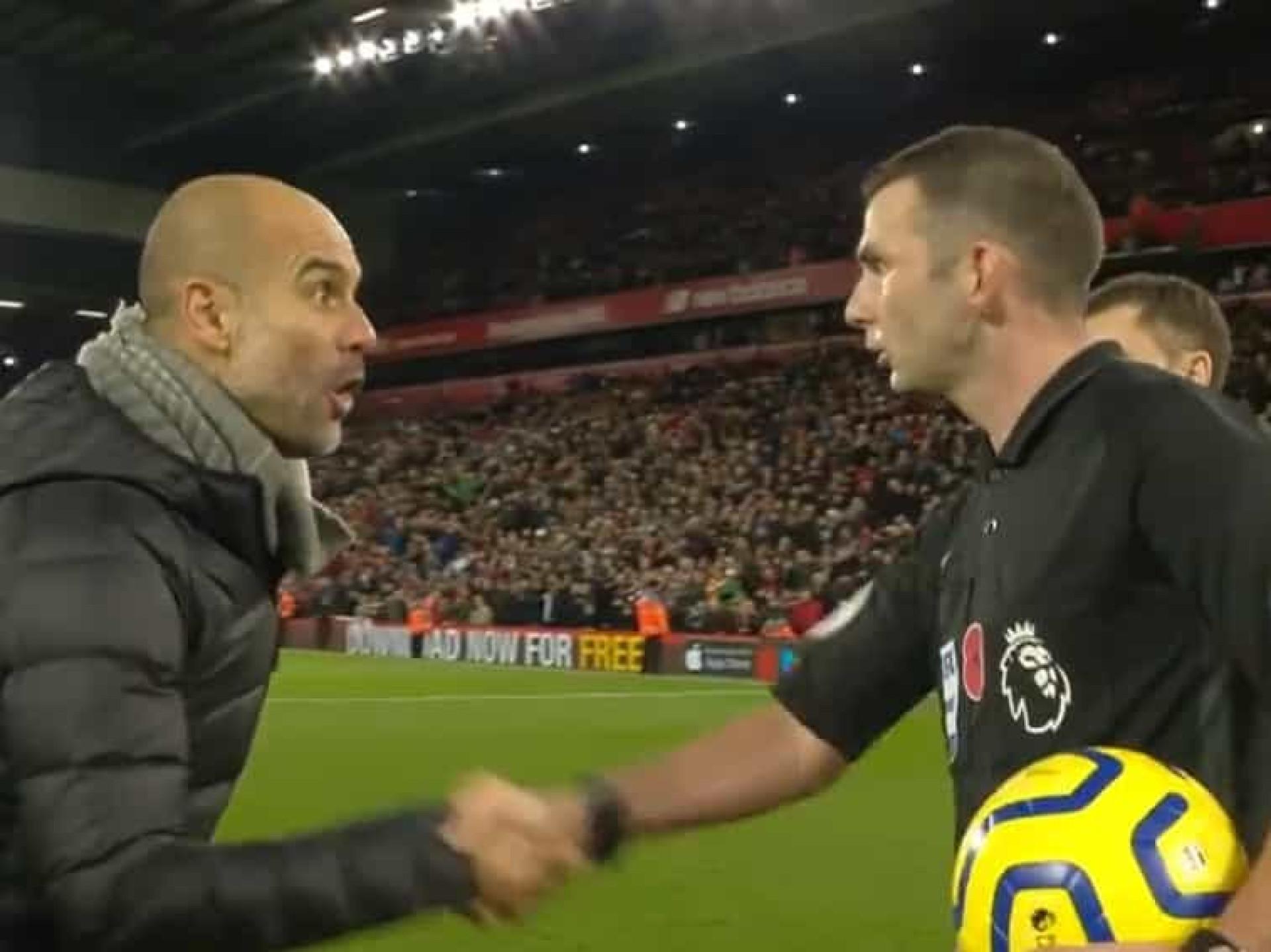 As palavras de Guardiola com o árbitro após a derrota com o Liverpool