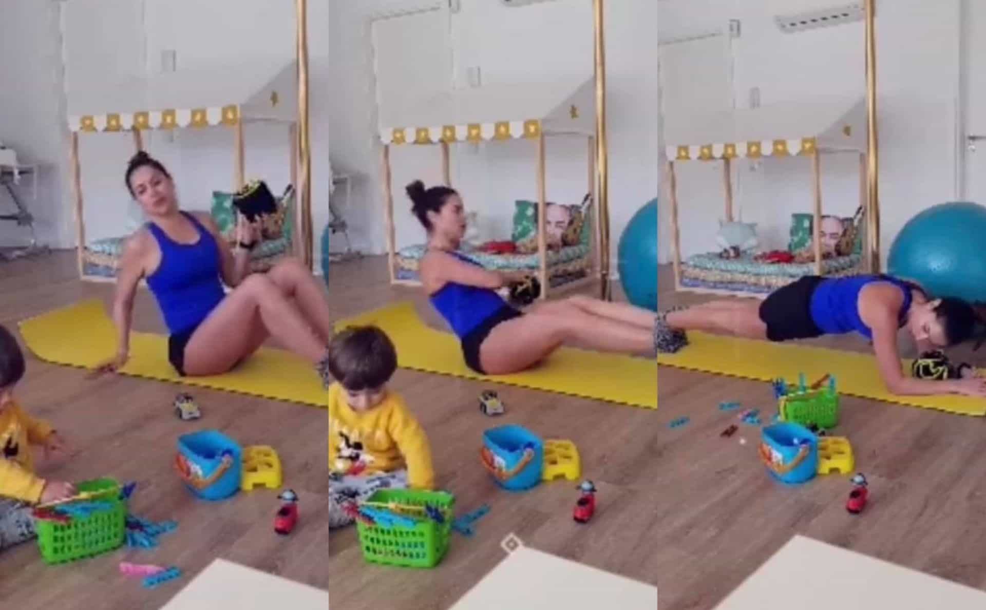 Vídeo. Enquanto o filho brinca, Dânia Neto pratica exercício