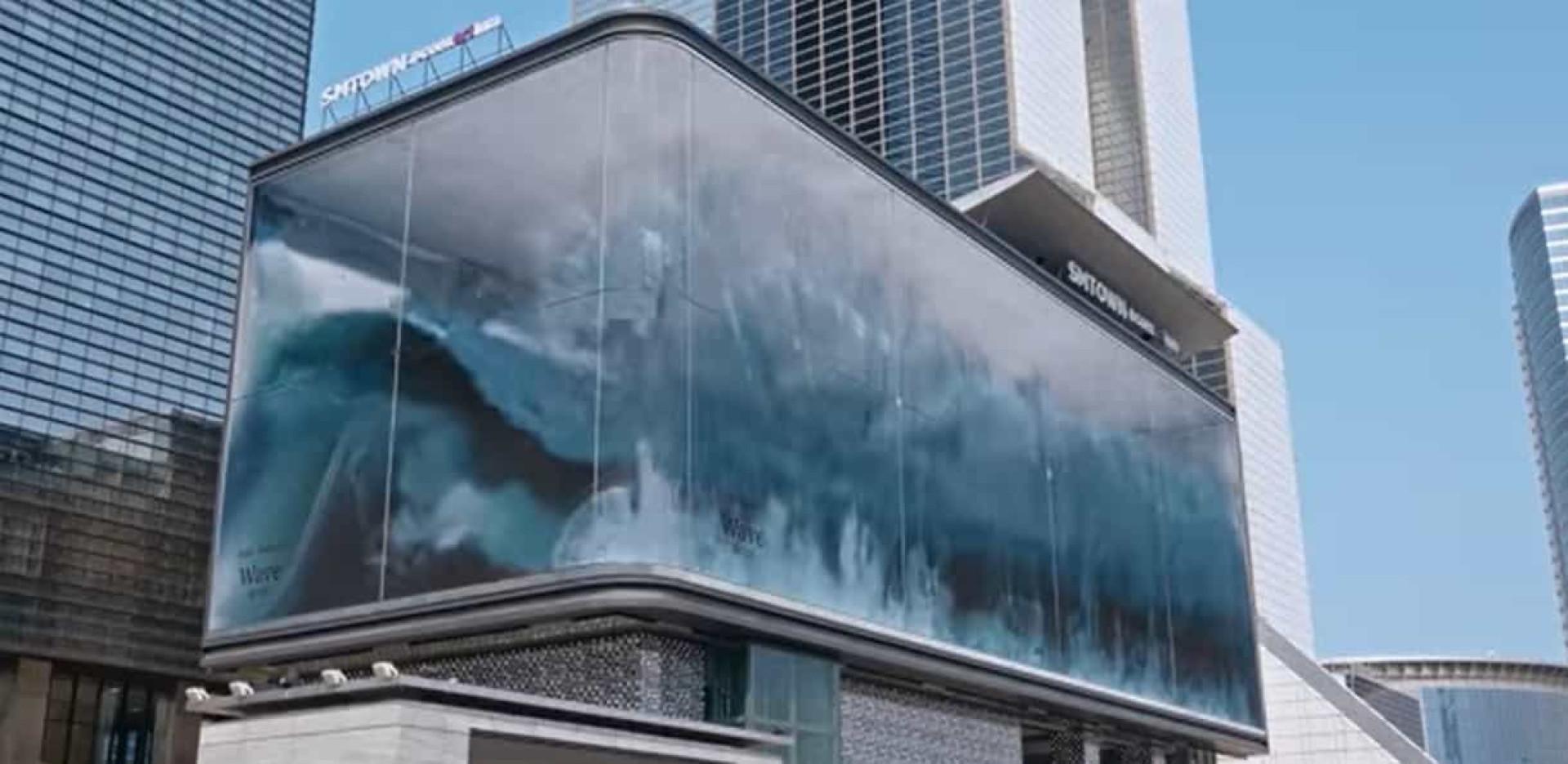 O oceano na cidade. Onda gigante 3D projetada em ecrãs LED em Seul