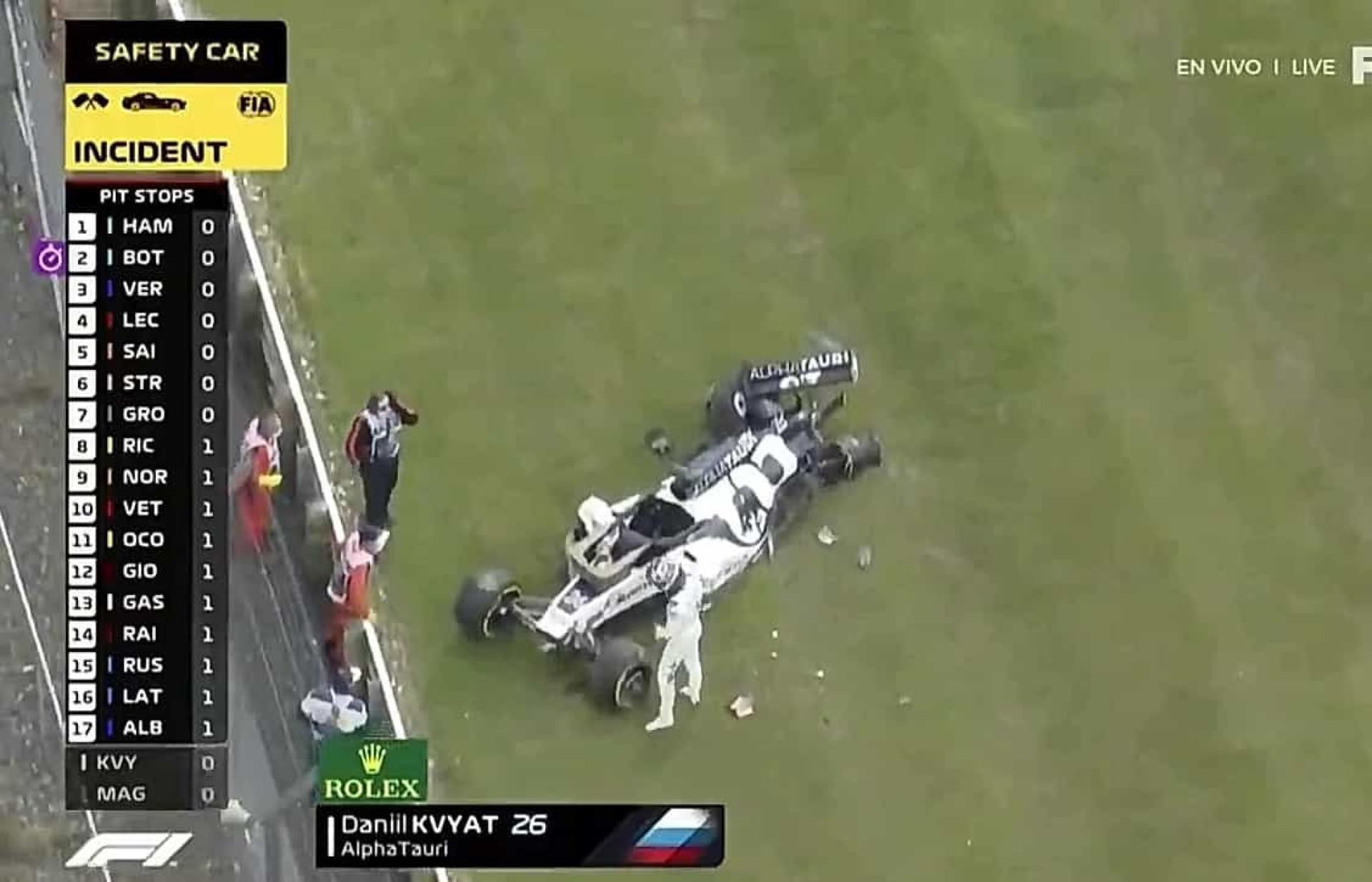 O brutal acidente que obrigou Kvyat a abandonar o GP da Grã-Bretanha