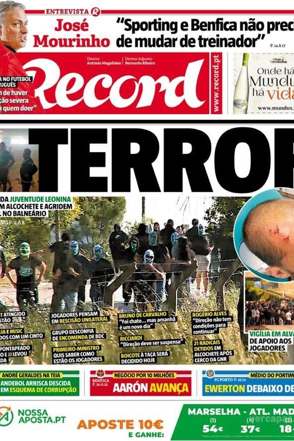 """""""Terror"""". Jornais marcados por um dia negro após agressões em Alcochete"""