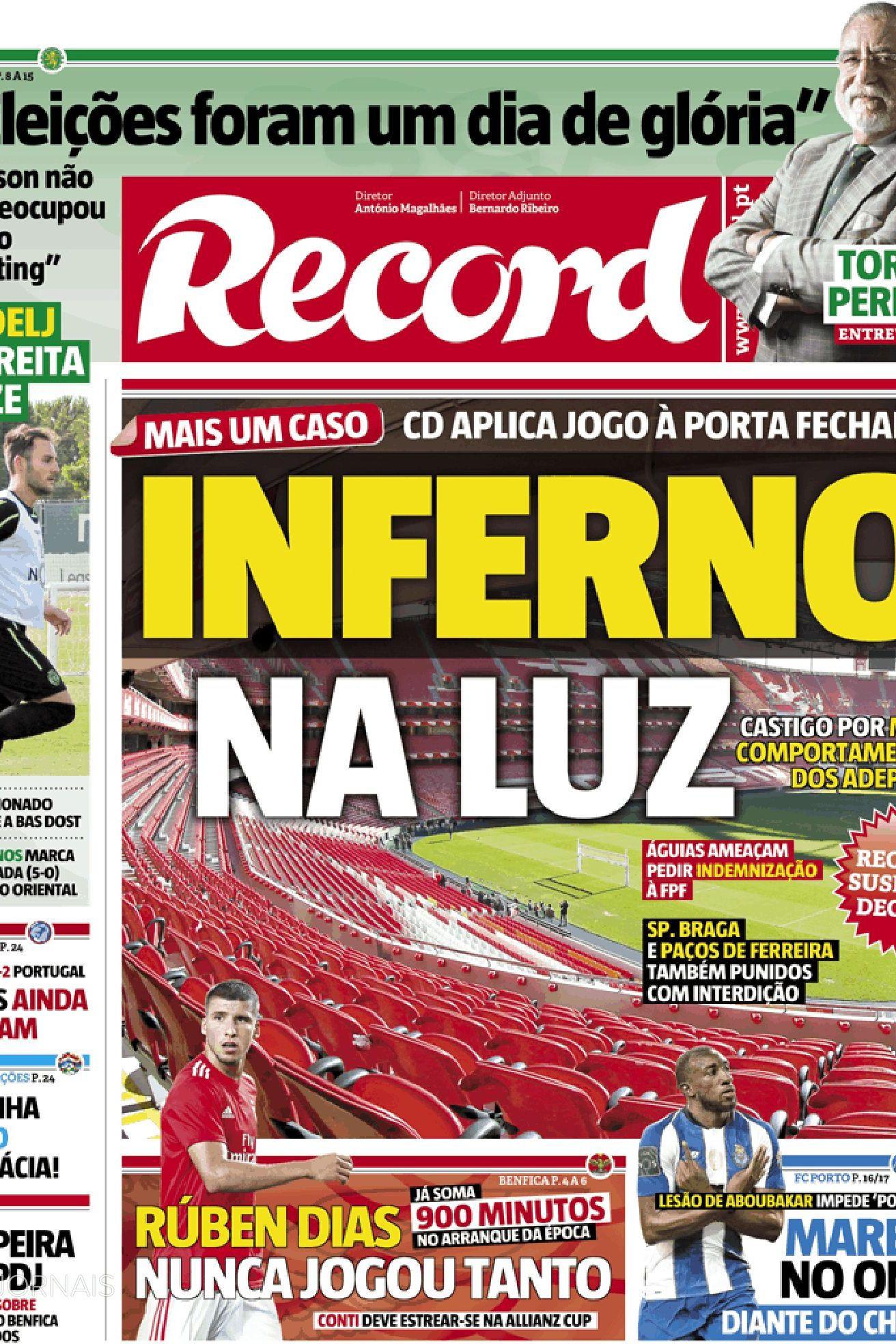 Imprensa nacional: Mais uma polémica a deixar o futebol... num 'inferno'