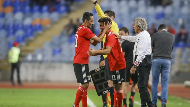 A reação de Jota depois de se estrear pela equipa principal do Benfica