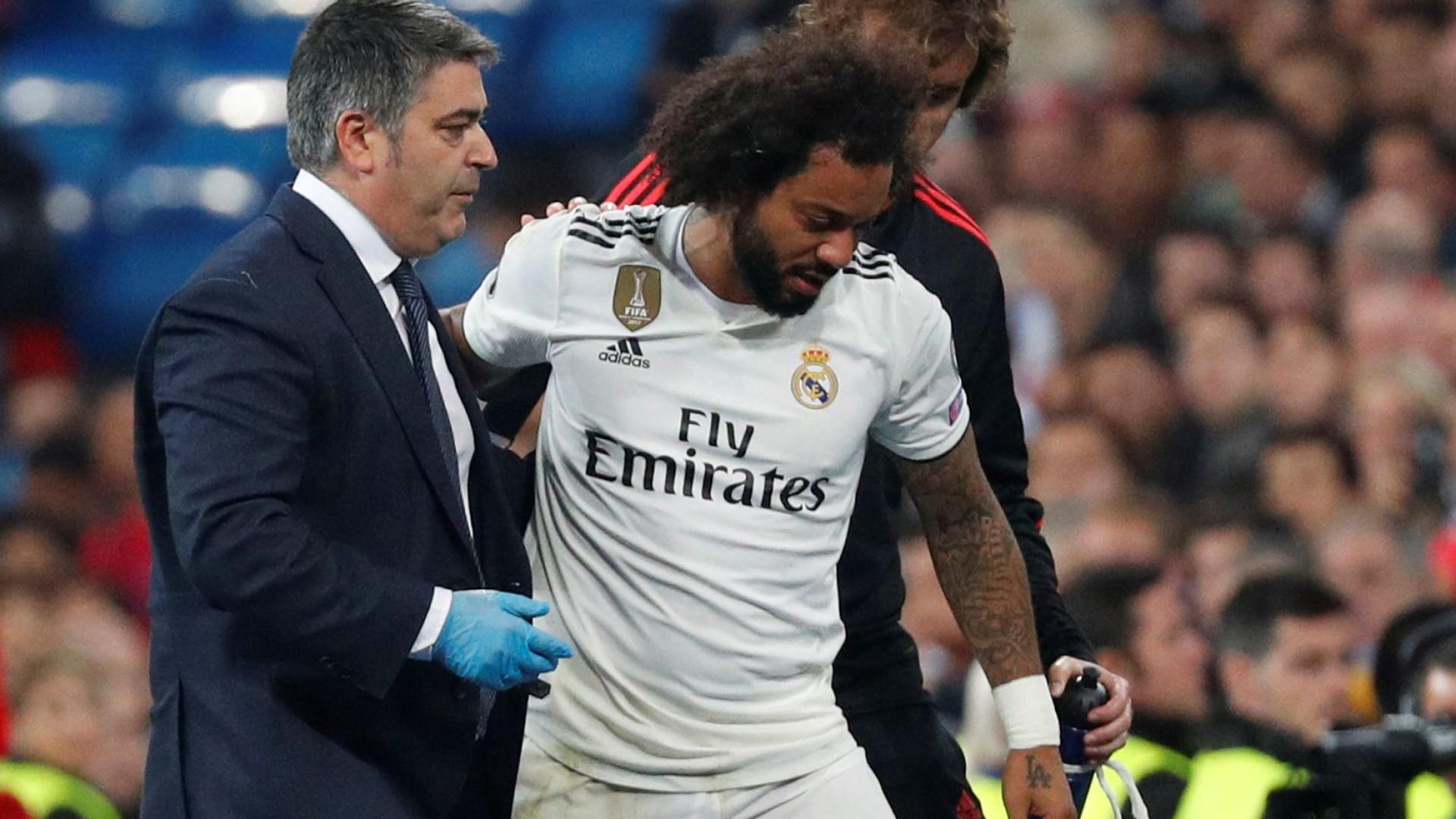 6e64ab3447a Alarmes no Real Madrid. Marcelo deixa relvado em lágrimas