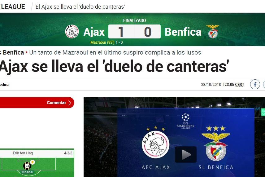 Imprensa internacional reagiu assim ao desaire do Benfica em Amesterdão