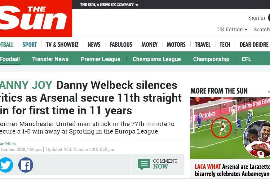Saiba o que disse a imprensa inglesa sobre o Sporting-Arsenal