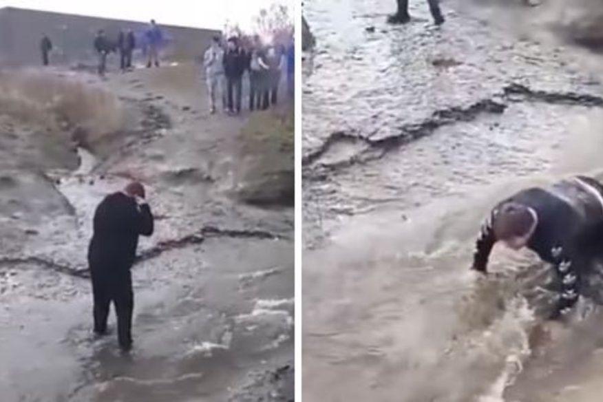Tem paralisia cerebral e foi aliciado a fazer 'ponte humana' num riacho