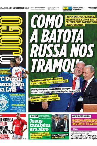 """Imprensa nacional: O drama de Bruno e a """"batota"""" russa"""