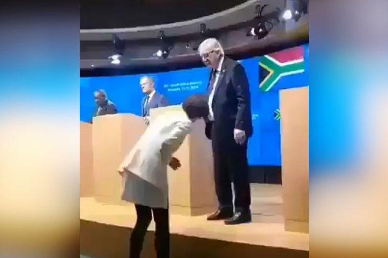 Juncker abandona conferência ao perceber que tem sapatos de cor diferente