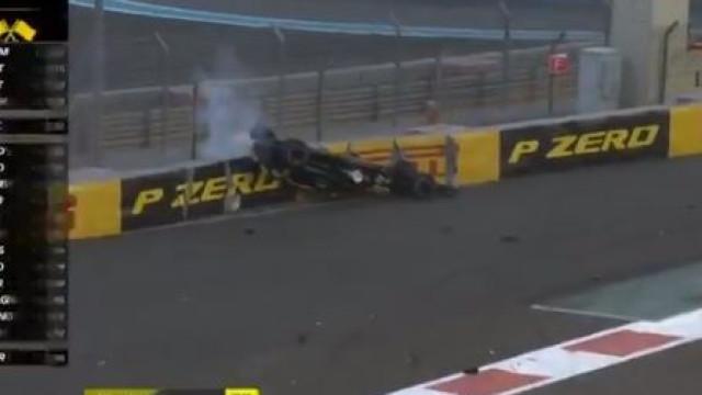 Carro de Hulkenberg capota logo na primeira volta do GP de Abu Dhabi