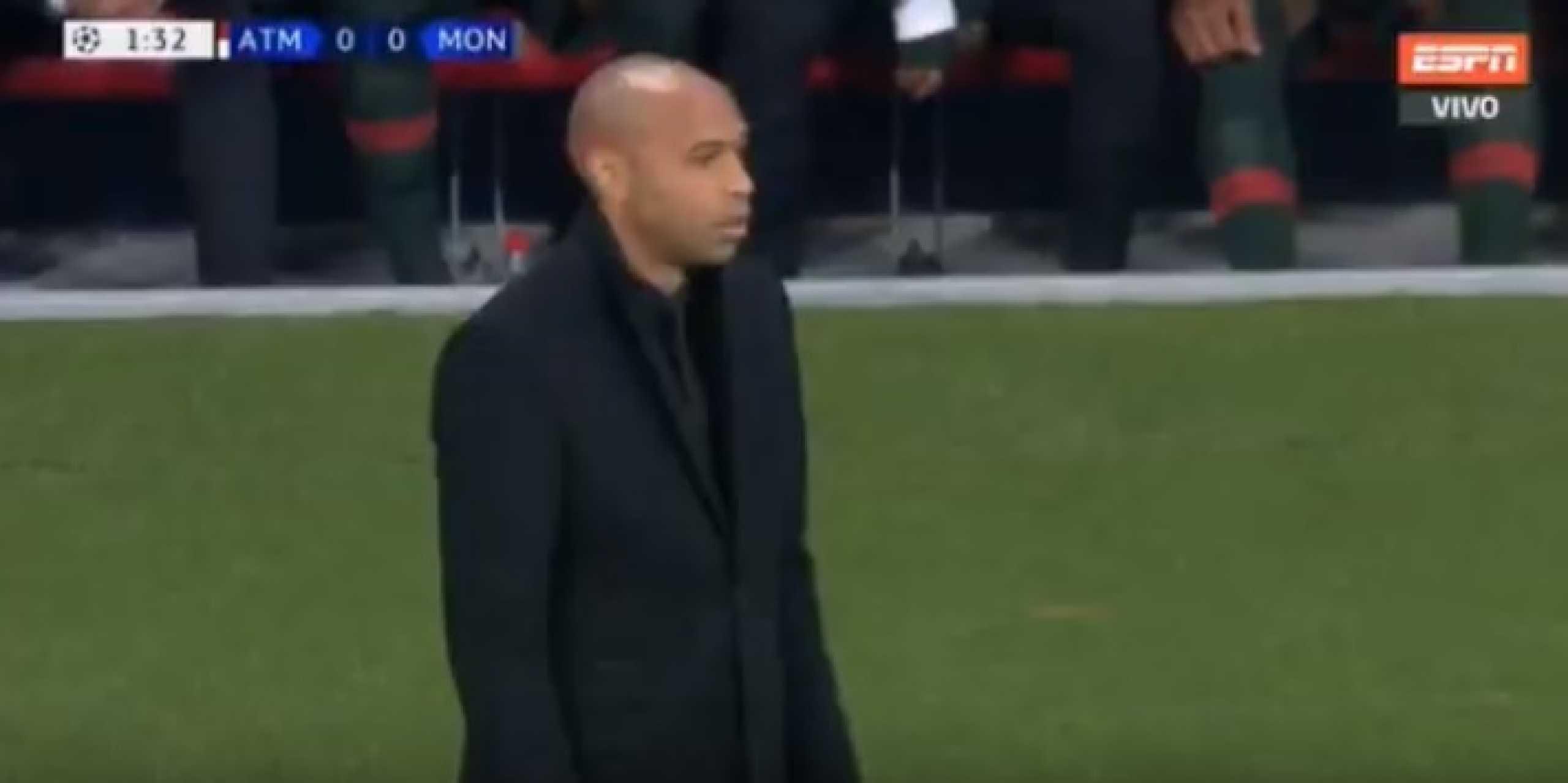 Monaco sofre em menos de 2 minutos e foi esta a reação de Thierry Henry