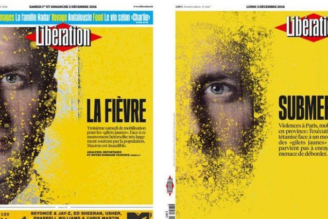"""Macron """"submerso"""" num mar de amarelo. A evolução da capa do Libération"""