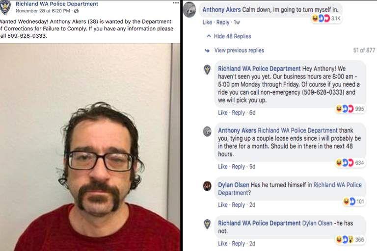 Fugitivo procurado troca comentários com a polícia nas redes sociais