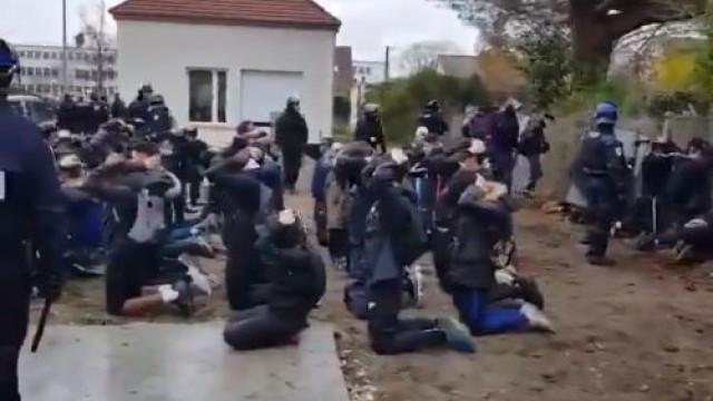 """O vídeo da """"chocante"""" prisão de 151 estudantes que vale debate em França"""