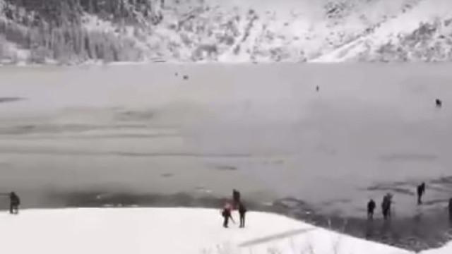 Turistas arriscam a vida por 'selfies' em lago gelado na Polónia
