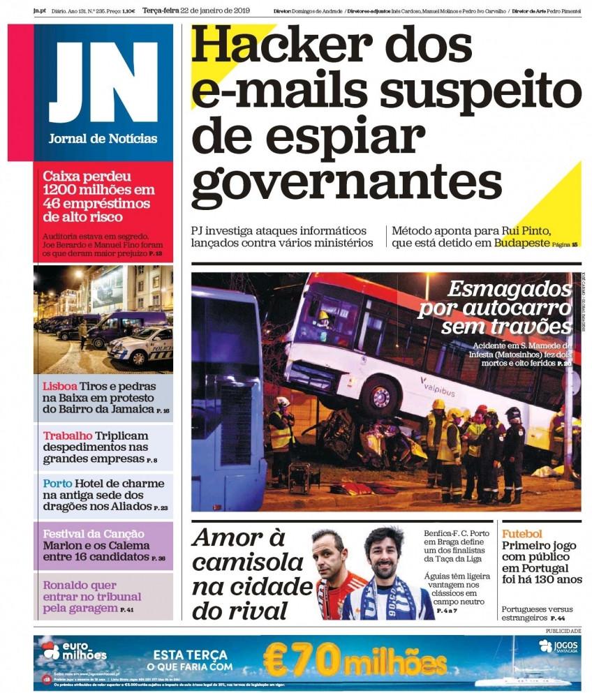Hoje é notícia: Tiros e pedradas em Lisboa; Esmagados por autocarro