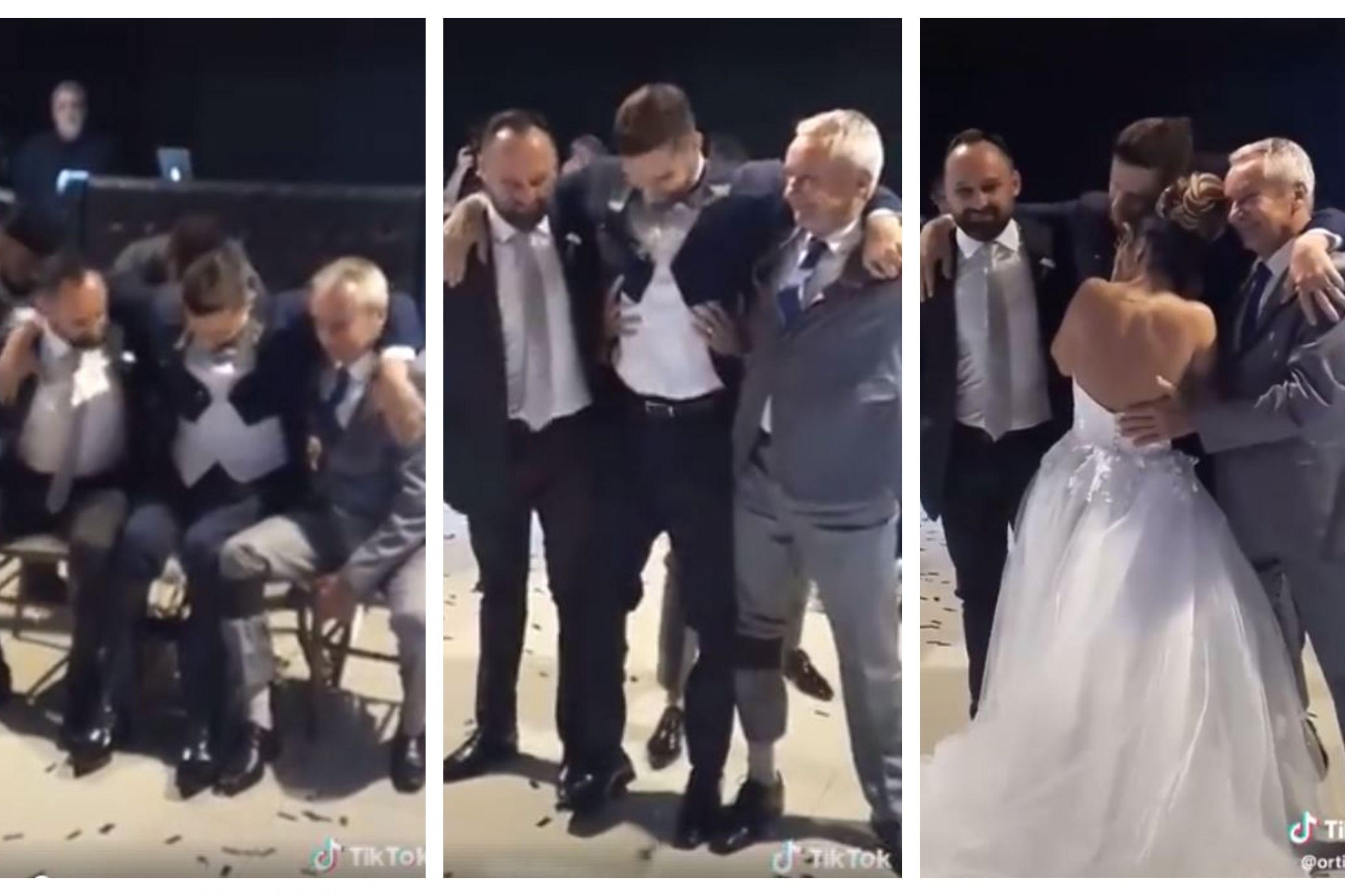 Noivo em cadeira de rodas levanta-se para dançar com a esposa