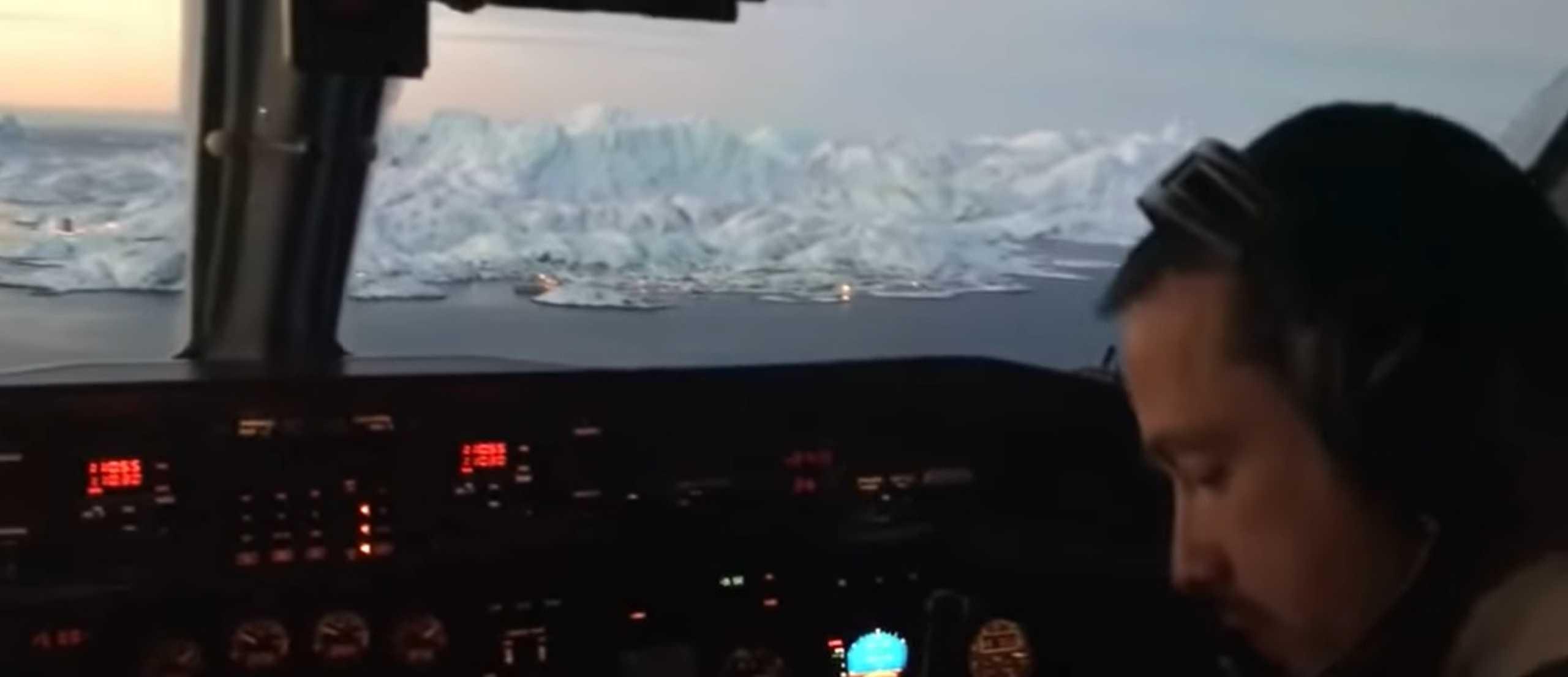 A incrível paisagem da Gronelândia filmada a partir do cockpit de avião