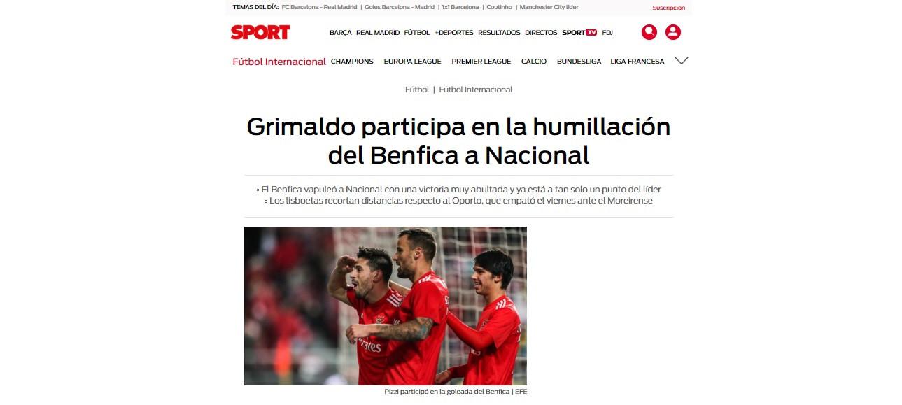 Humilhação do Benfica ao Nacional já corre mundo