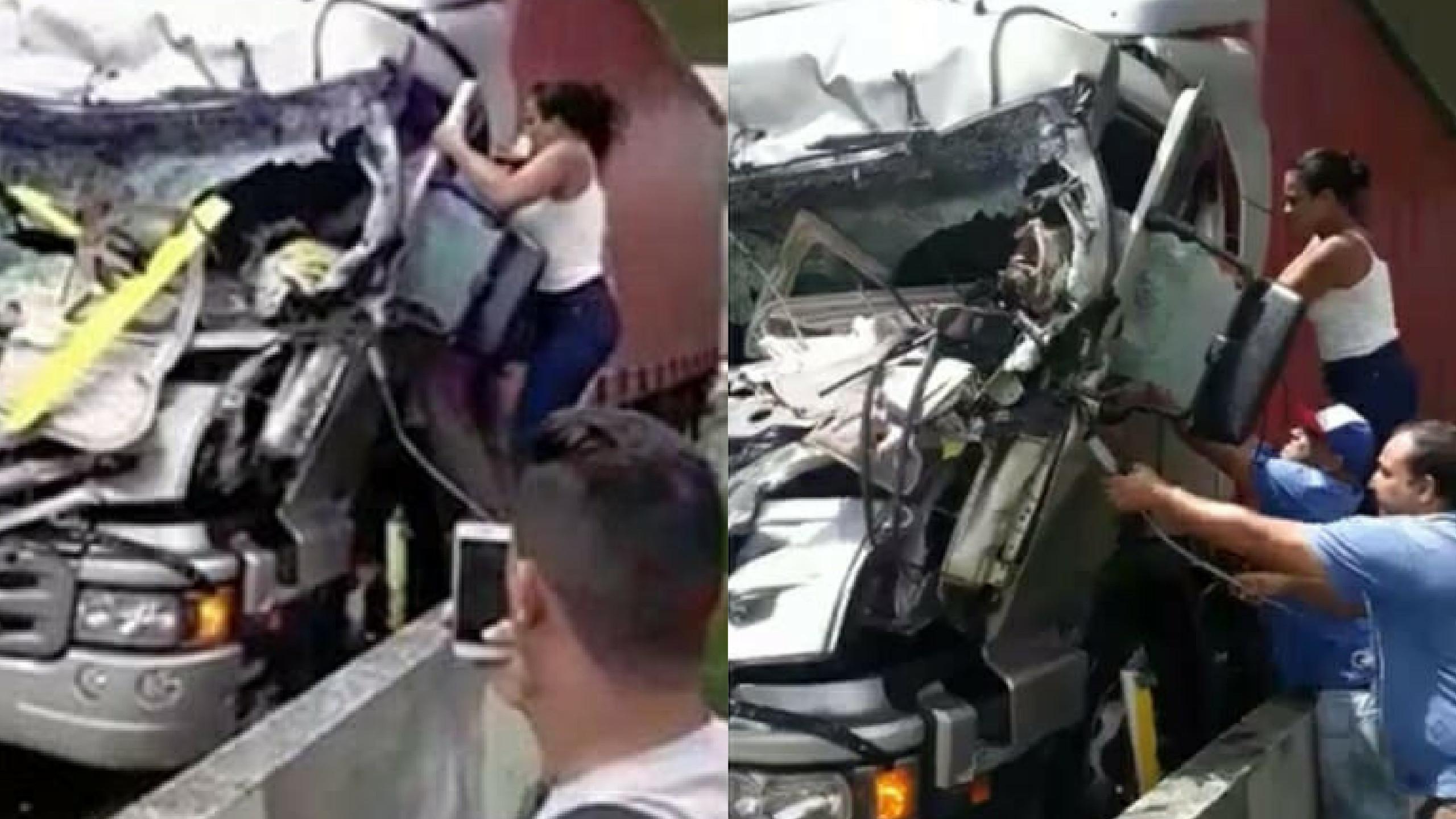 """Brasil: A """"heroína"""" que resgatou o motorista enquanto outros filmavam"""