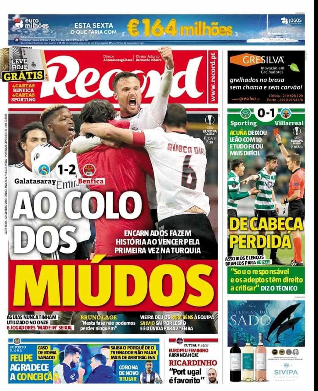 Por cá: Benfica ao colo dos miúdos e um Sporting de cabeça perdida