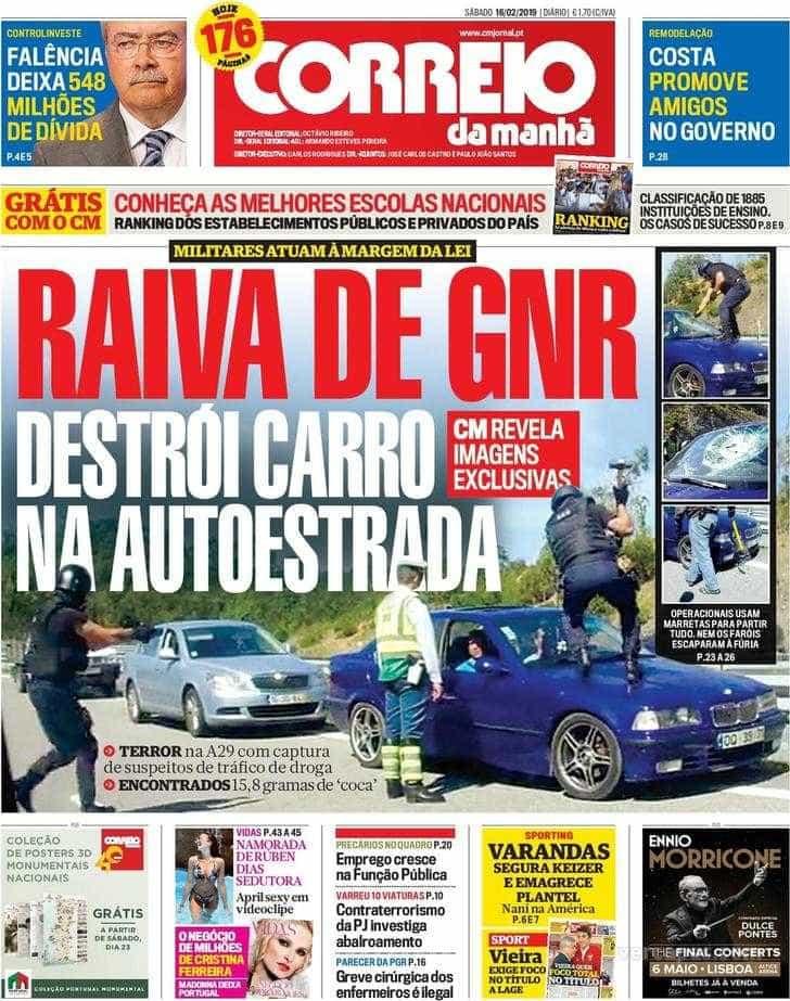 Hoje é notícia: Raiva de GNR destrói carro; Mestrado de Sócrates em risco