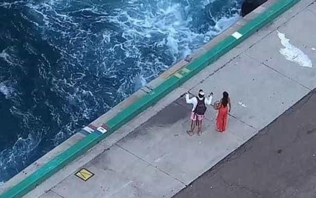Captado momento em que casal percebe que acabou de perder o cruzeiro