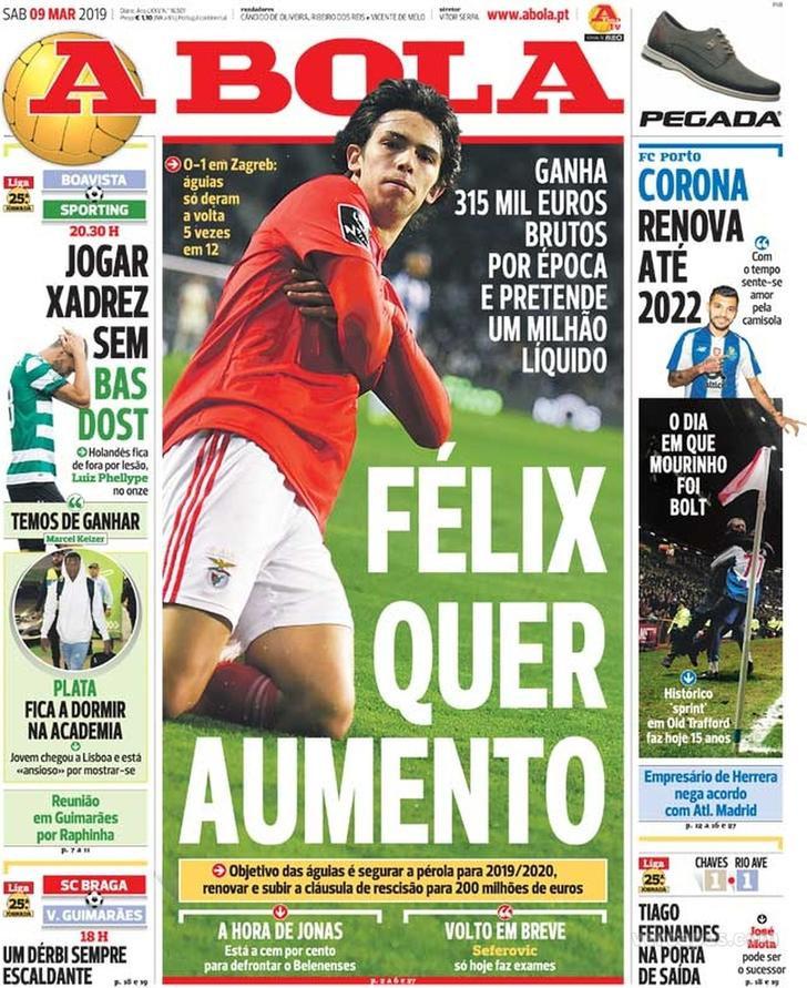 Por cá: Félix quer aumento, Corona renova e Fernandes a valer 100 milhões