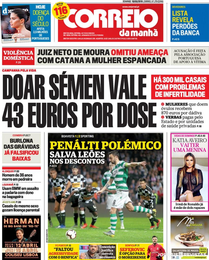 Hoje é notícia: Sémen vale 43 euros por dose; TV pirata chega a 300 mil