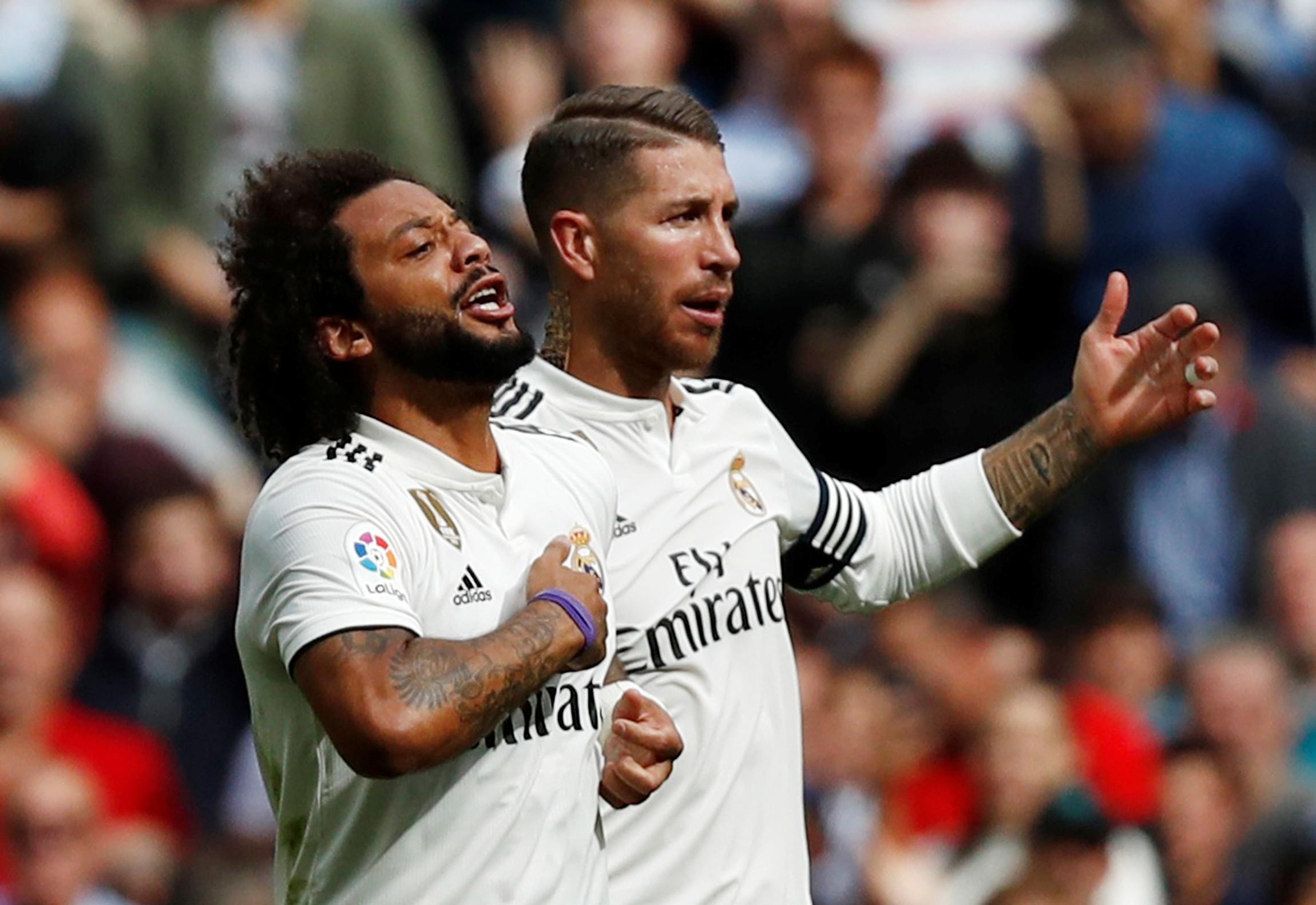 Ramos e Marcelo estiveram pegados no treino. Colegas tiveram de intervir