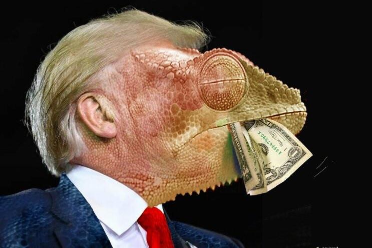 Trump com cara de camaleão e nota de dólar vence PortoCartoon 2019