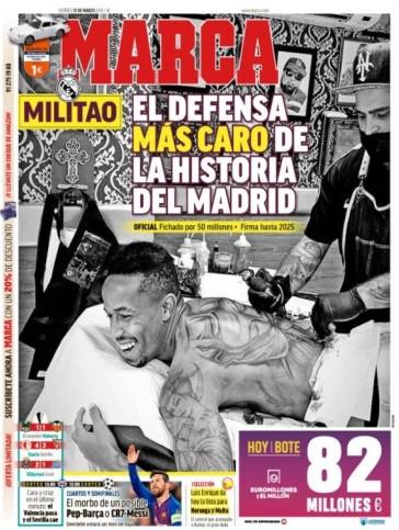 Lá fora: Militão 'domina' Espanha em dia de 'desastre' em Milão