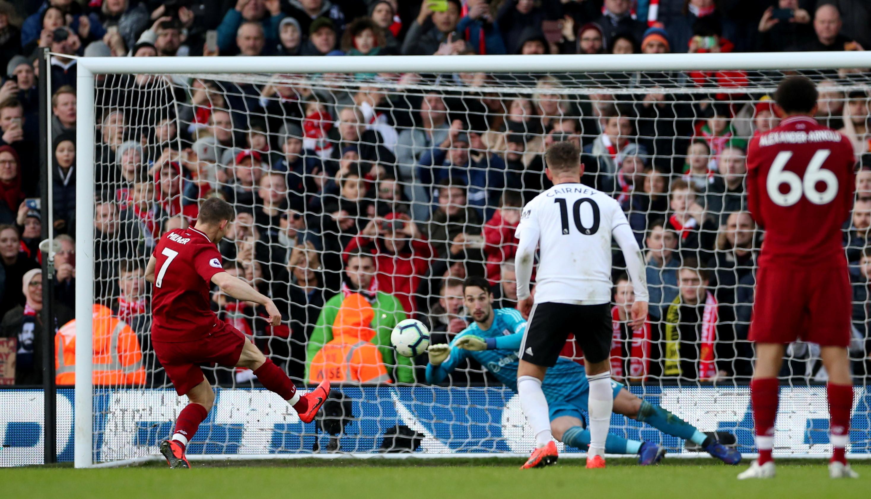 Penálti de Milner salva Liverpool de 'escorregadela' em Fulham