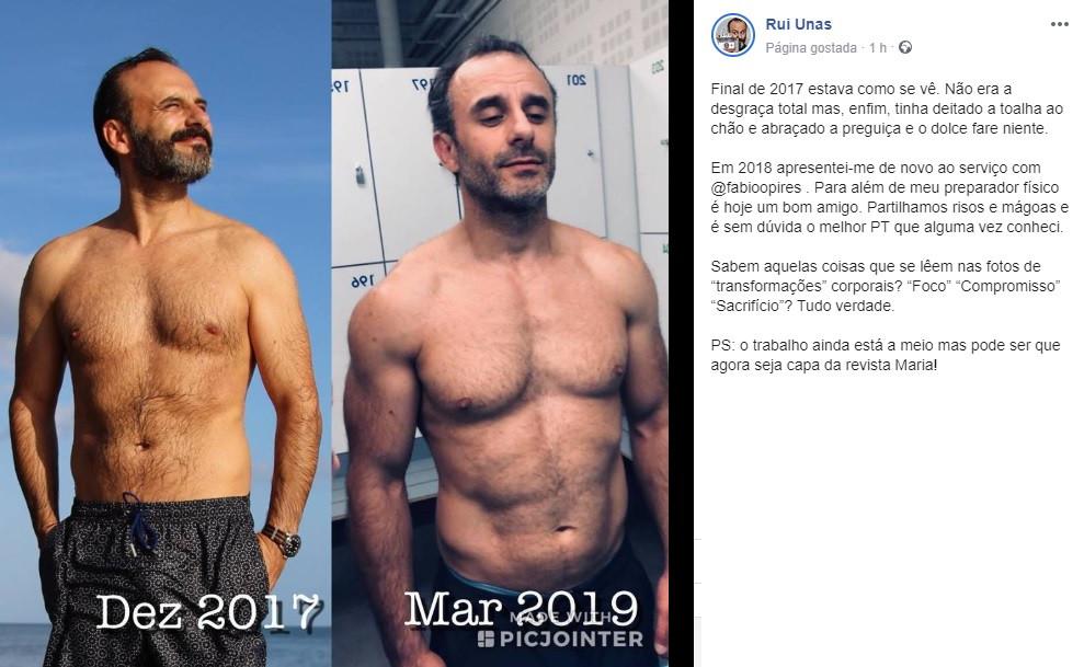 A transformação física de Rui Unas. Humorista mostra antes e depois