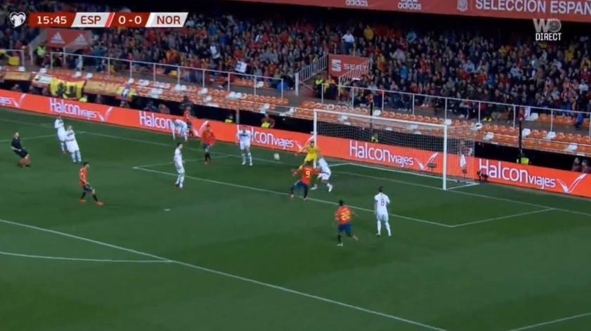 Rodrigo (lembra-se dele?) abriu assim o marcador do Espanha-Noruega