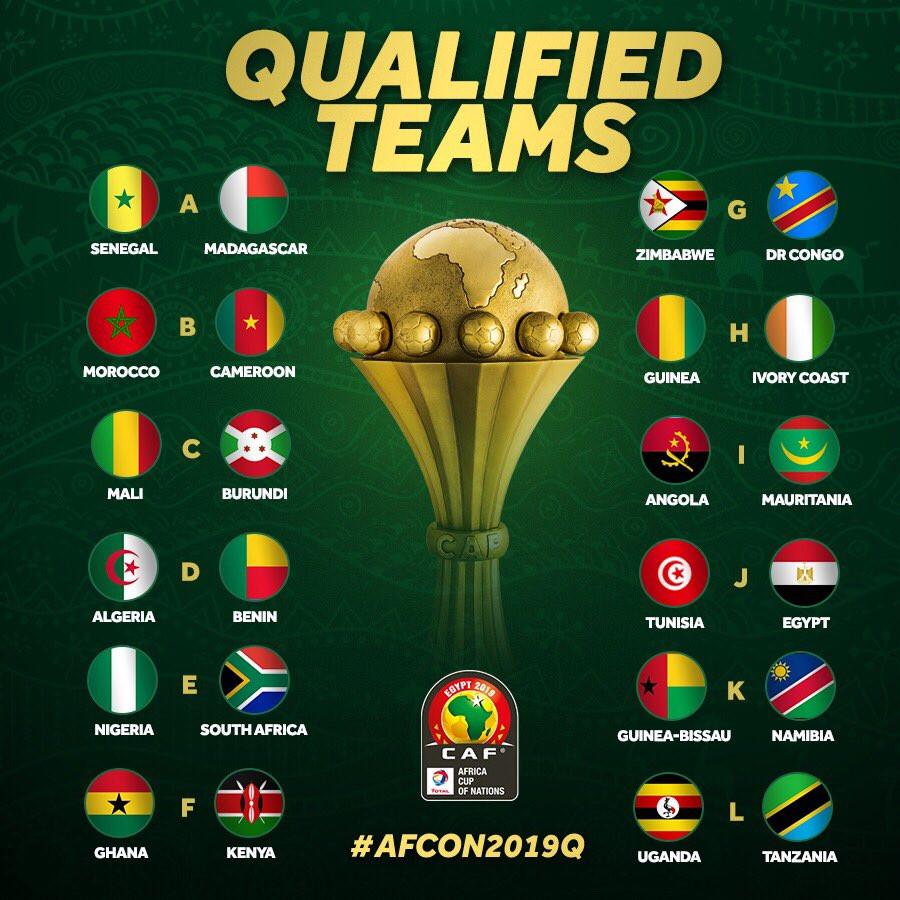 Eis as 24 seleções qualificadas para a CAN'2019