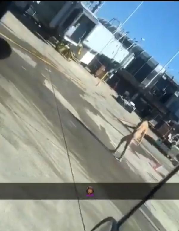 Homem nu filmado a atravessar aeroporto de Chicago