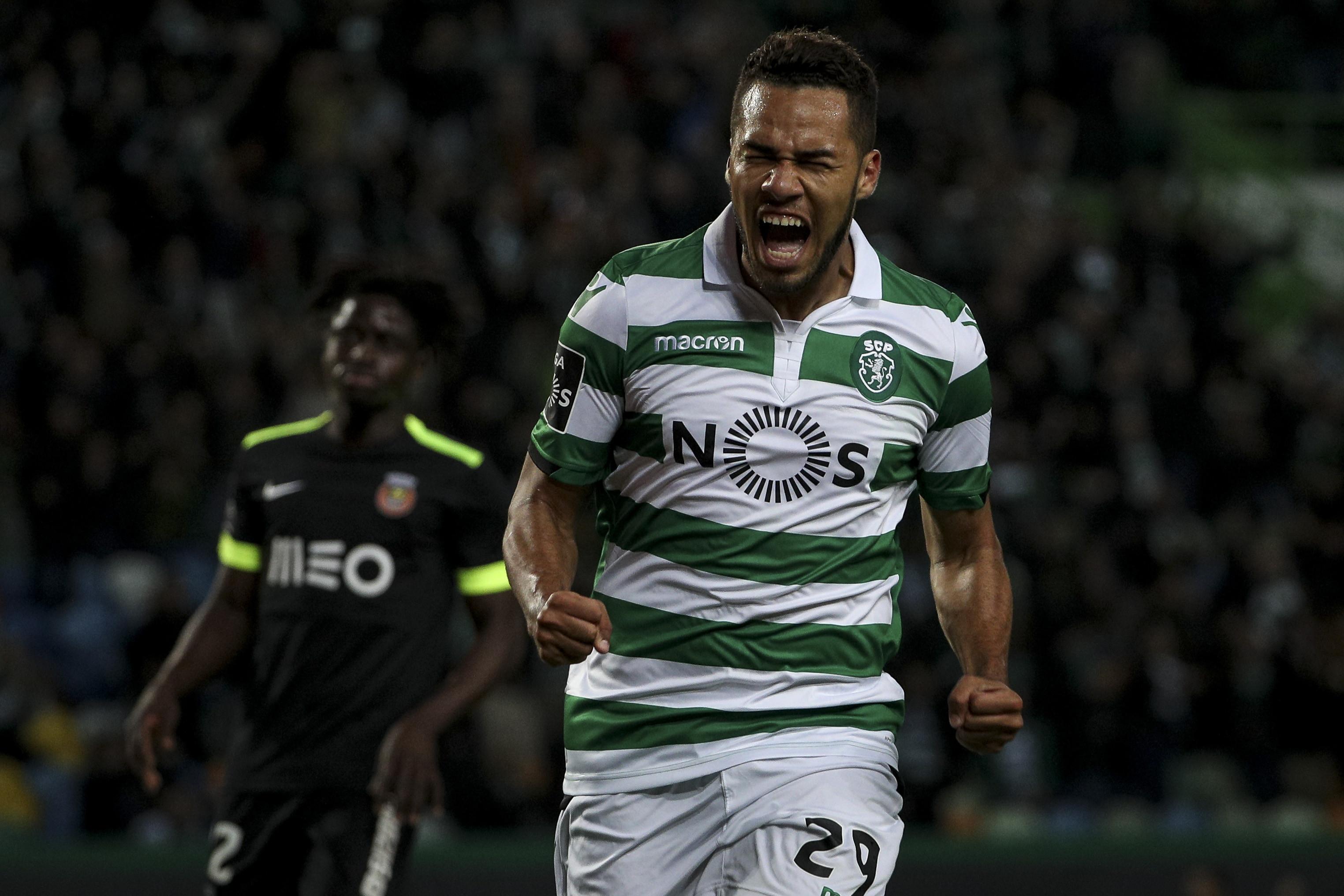 A reação de Luiz Phellype após a vitória do Sporting na Madeira
