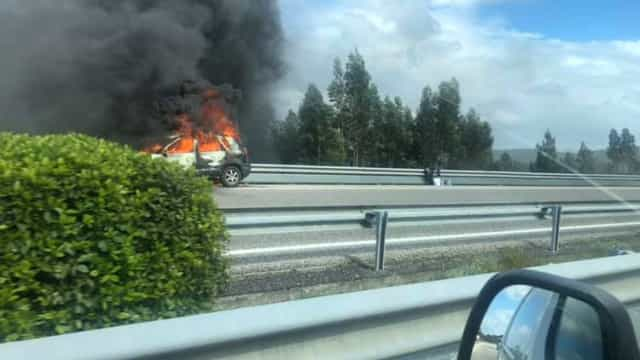 Carro incendiou-se na A1 junto a Fátima. Veja as imagens
