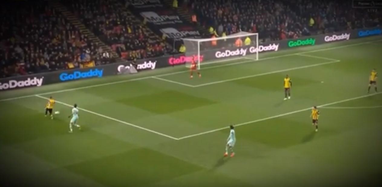 Aubameyang marcou, após erro grosseiro do guardião do Watford