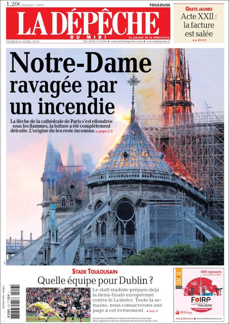 Não é só França que chora a perda de Notre-Dame. Jornais reagem assim