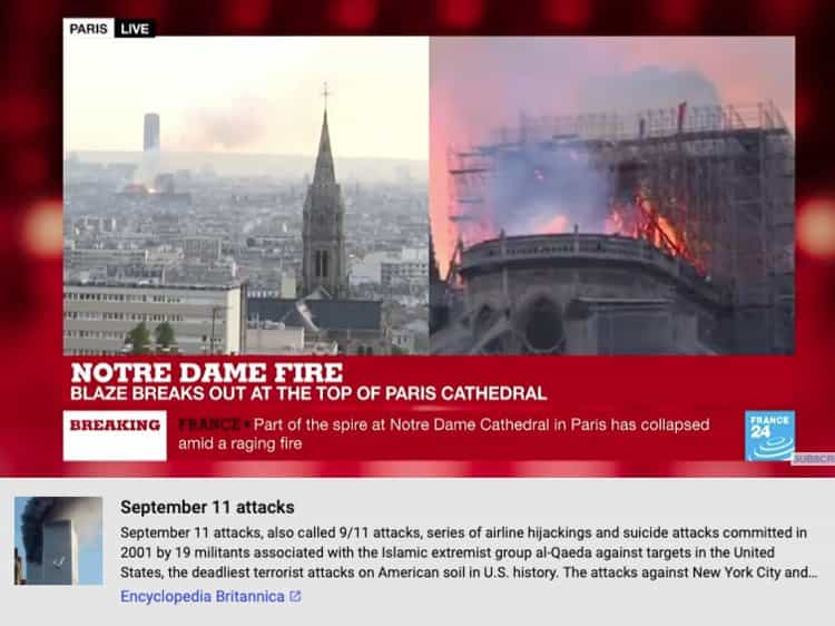 YouTube associou incêndio de Notre-Dame aos ataques de 11 de Setembro